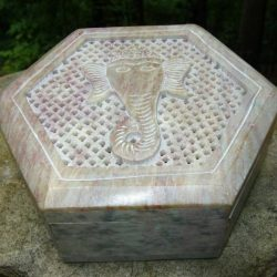 "CARVED SOAPSTONE HEXAGONAL GANESHA BOX - 5""HEX"