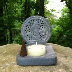 CARVED SOAPSTONE OM BURNER