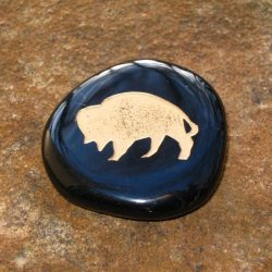 ENGRAVED TOTEM STONE - SEMI-PRECIOUS GEMSTONE - BISON (POWER, ABUNDANCE)