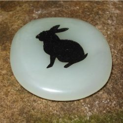 ENGRAVED TOTEM STONE - SEMI-PRECIOUS GEMSTONE - RABBIT (RENEWAL, ALERTNESS)